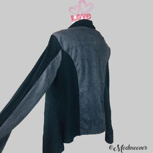 Francesca's Mixed Media Black Waterfall Cardi NEW